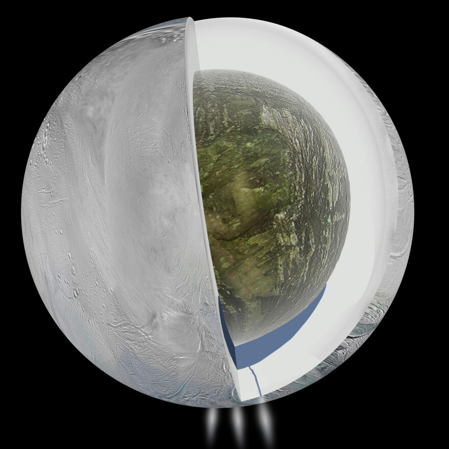 This illustration provided by NASA and based on Cassini spacecraft measurements shows the possible interior of Saturn's moon Enceladus, an icy outer shell and a low density, rocky core with a regional water ocean sandwiched in between the two at southern latitudes.