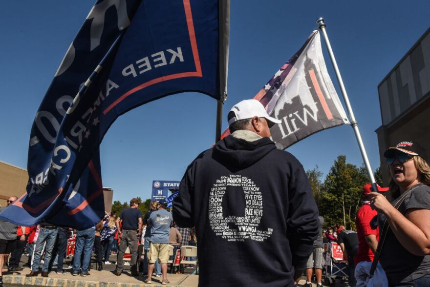 A person wears a QAnon sweatshirt during a pro-Trump rally on October 3, 2020, in New York City. (Stephanie Keith/Getty Images)