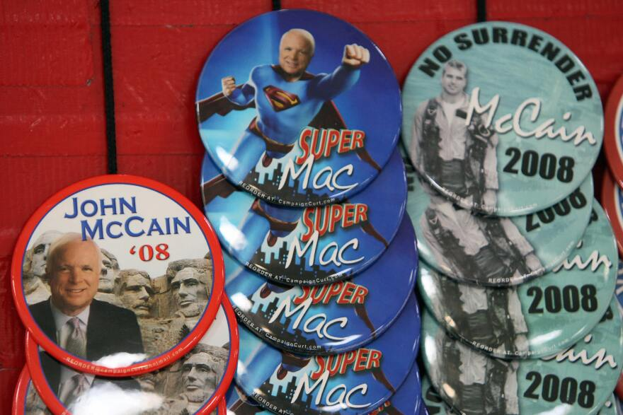 Campaign buttons for McCain on sale at a campaign rally in St. Louis in February 2008.