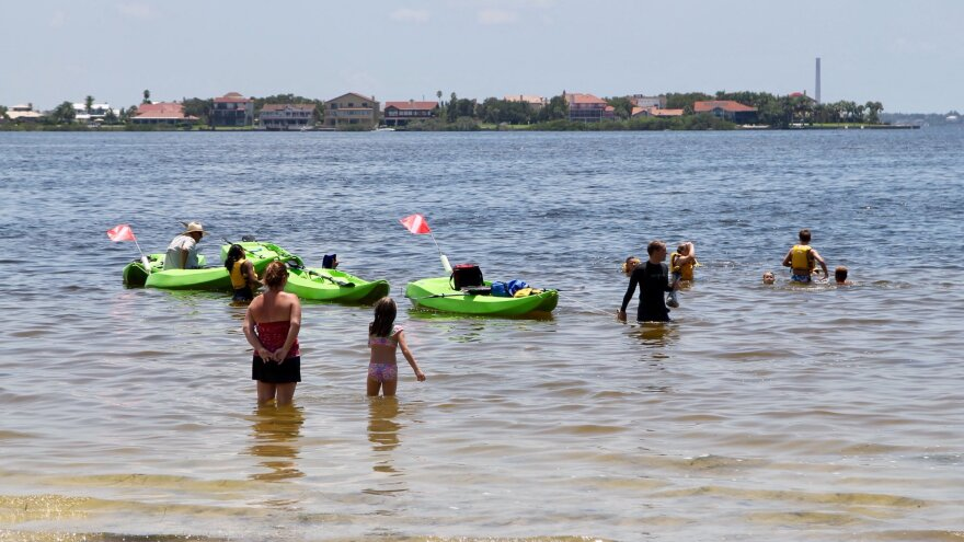 People wading in water, kayakers row past