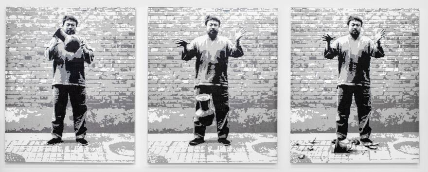 Dropping a Han Dynasty Urn, 2015 is part of the Ai Weiwei: Bare Life exhibition.