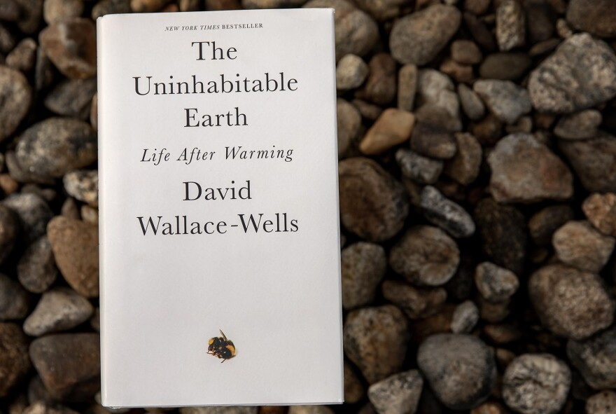 """""""The Uninhabitable Earth: Life After Warming,"""" by David Wallace-Wells. (Robin Lubbock/WBUR)"""