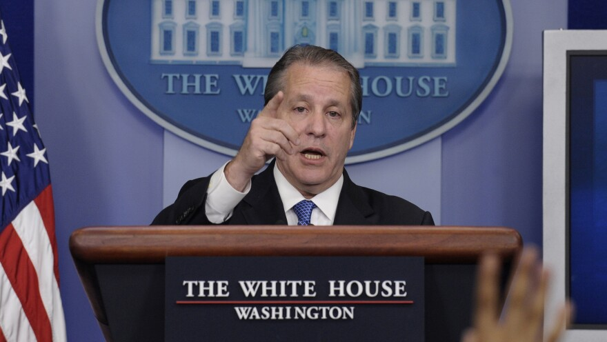 White House National Economic Council Chairman Gene Sperling speaks during the daily briefing at the White House on Monday. With Congress back, the Senate is expected to work on a three-month extension of benefits for the long-term unemployed.