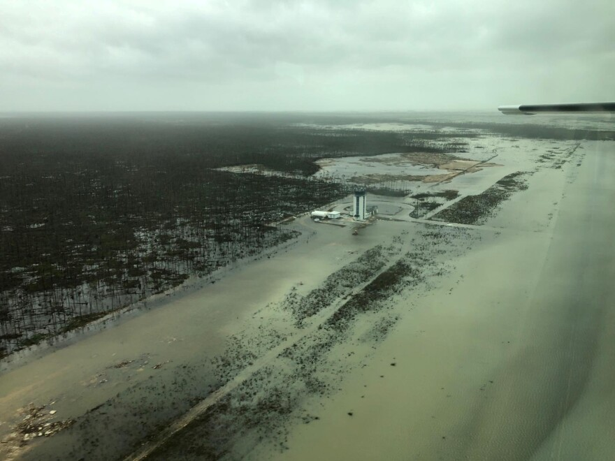 An aerial view shows Marsh Harbour's airport after Hurricane Dorian hit the Bahamas' Abaco Islands this week.