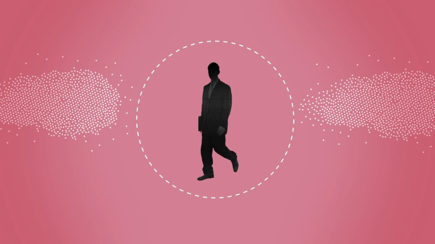 Graphic with man in shadow in a business suit walking on a pink background.
