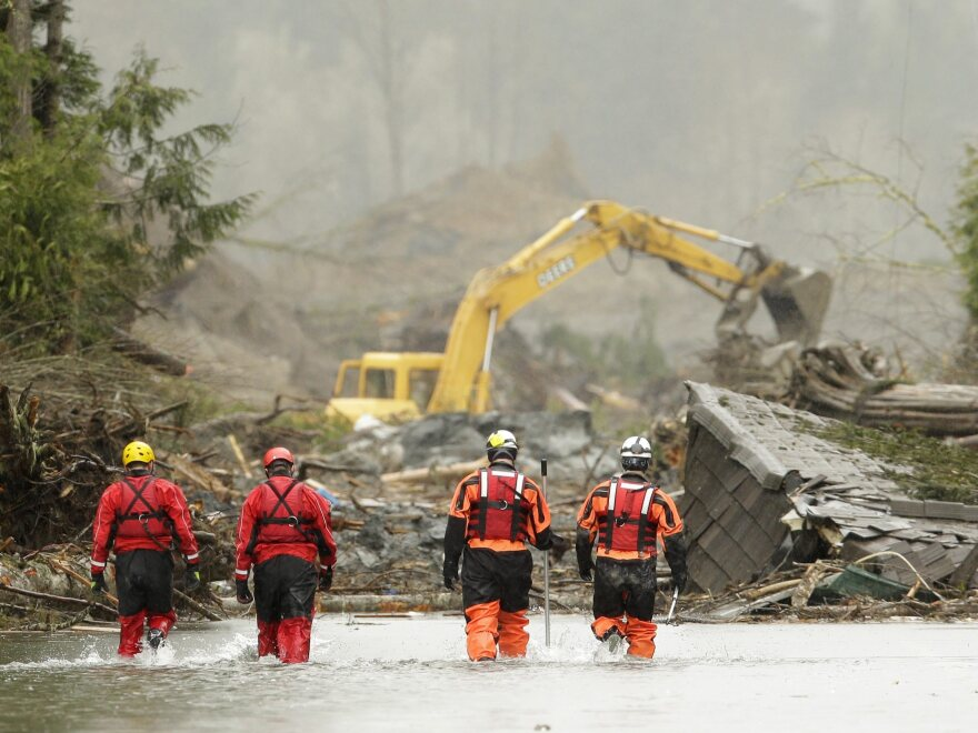 Searchers approach the site of the mudslide in Oso, Wash., that tore through about 50 homes and properties.