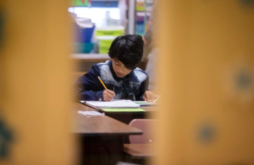 A student in a classroom at Cactus Elementary School.