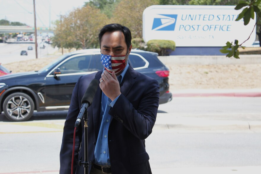 Congressman Joaquin Castro spoke about local concerns at the post office and postal processing center on Perrin Beitel Road Aug. 18, 2020.