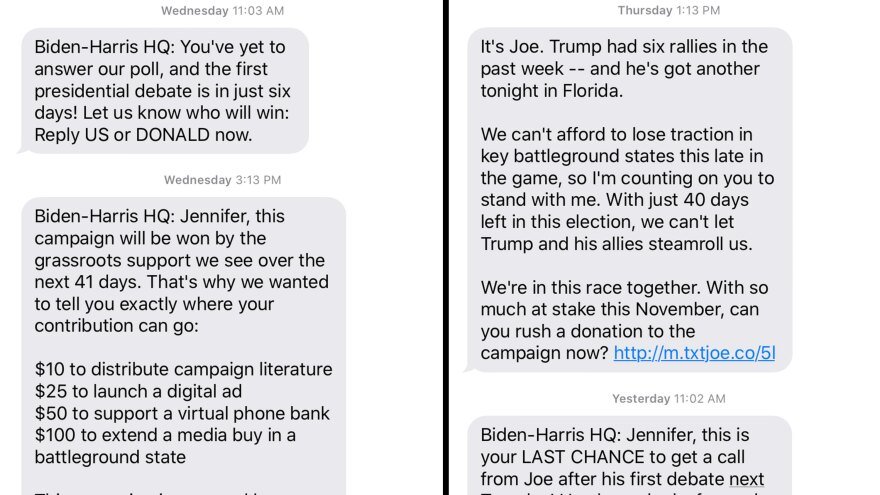 A compilation of screenshots of text messages sent by the Joe Biden campaign to Jennifer Stromer-Galley, a professor at Syracuse University.