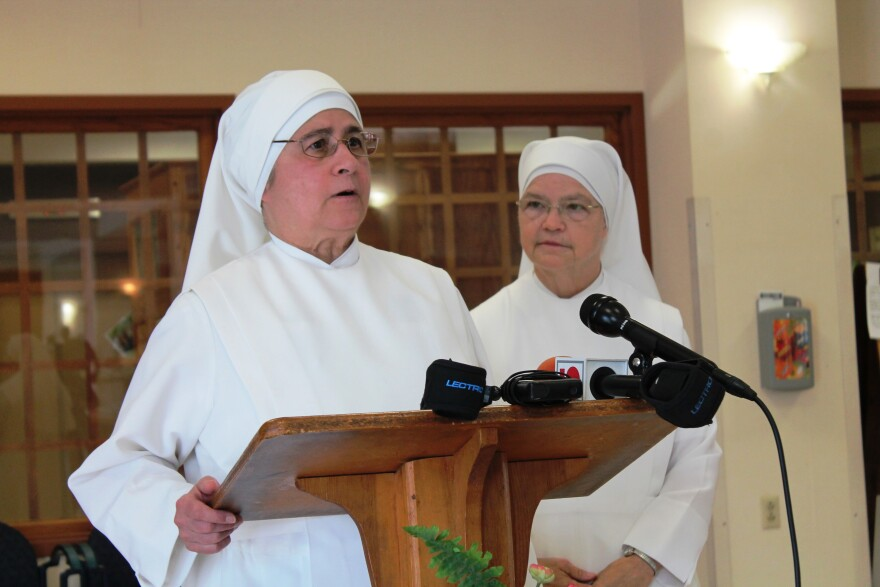 "Little Sisters of the Poor local Superior Mother Gonzague Castro described on Wednesday her ""mixed emotions"" about the order's decision to withdraw from its St. Louis facility, as provincial Superior Mother Maria Christine Lynch looks on."