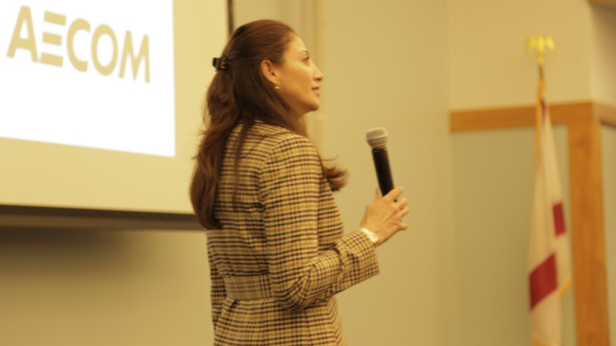 Julia Nesheiwat speaking to a crowd