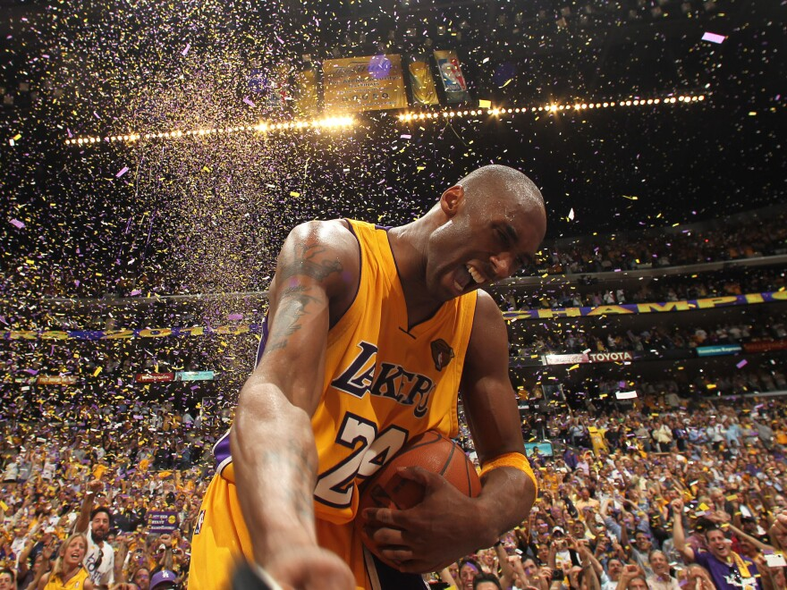 Kobe Bryant of the Los Angeles Lakers celebrates after beating the Boston Celtics in Game 7 of the 2010 NBA Finals at the Staples Center in Los Angeles.