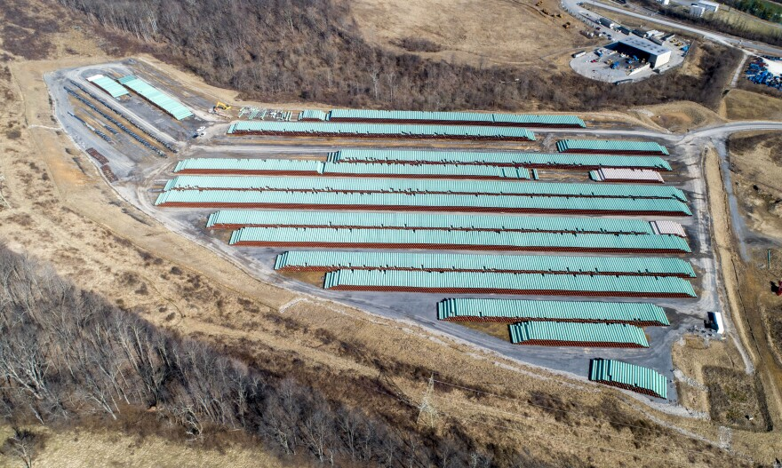 Natural gas pipe for the Atlantic Coast Pipeline sits in a yard Feb. 27, 2019, near Morgantown, W.Va.