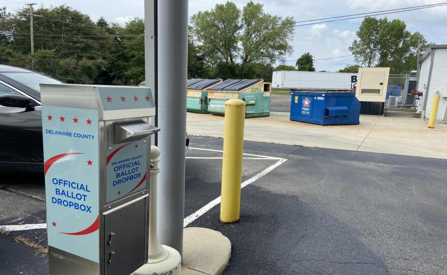 ballot drop box at Delaware County Board of Elections