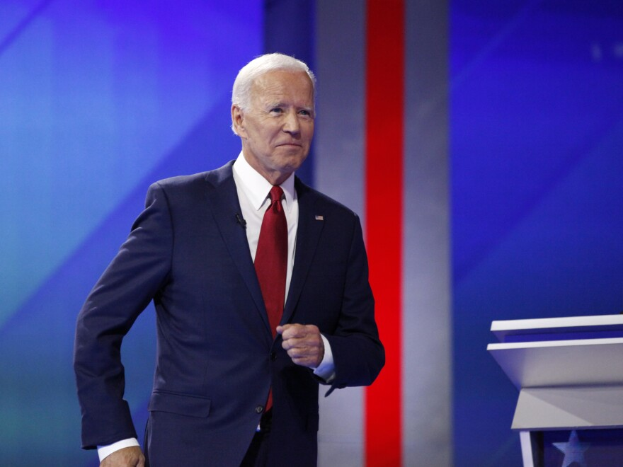 Former Vice President Joe Biden takes the stage Thursday at the third Democratic debate, which took place at Texas Southern University in Houston.