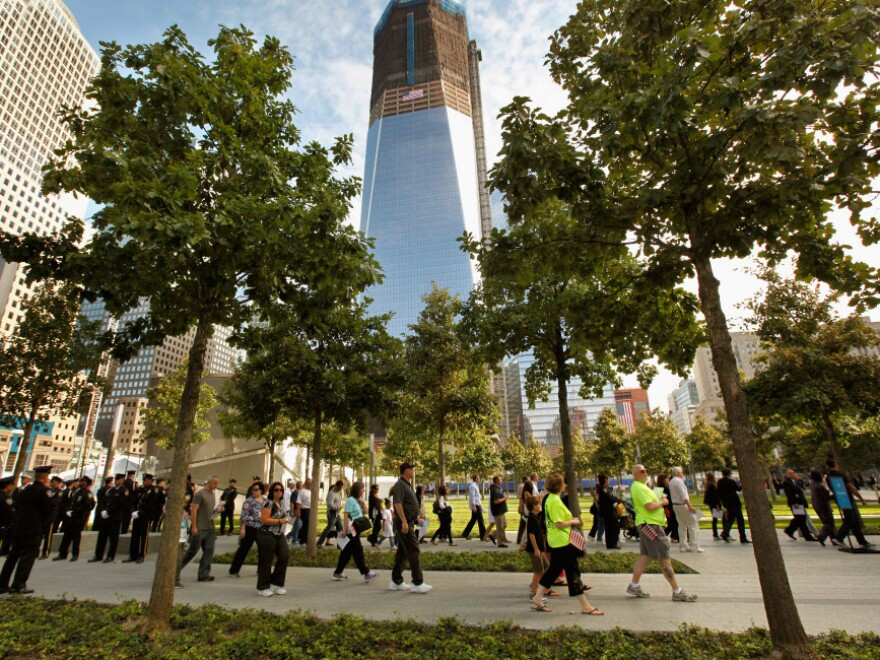 Family members of the victims entered the 9/11 Memorial Plaza for the first time today.