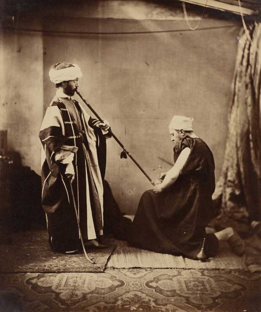 <em>Orientalist Study</em>, 1858. The two men are in fact white Europeans, posing in a London studio.