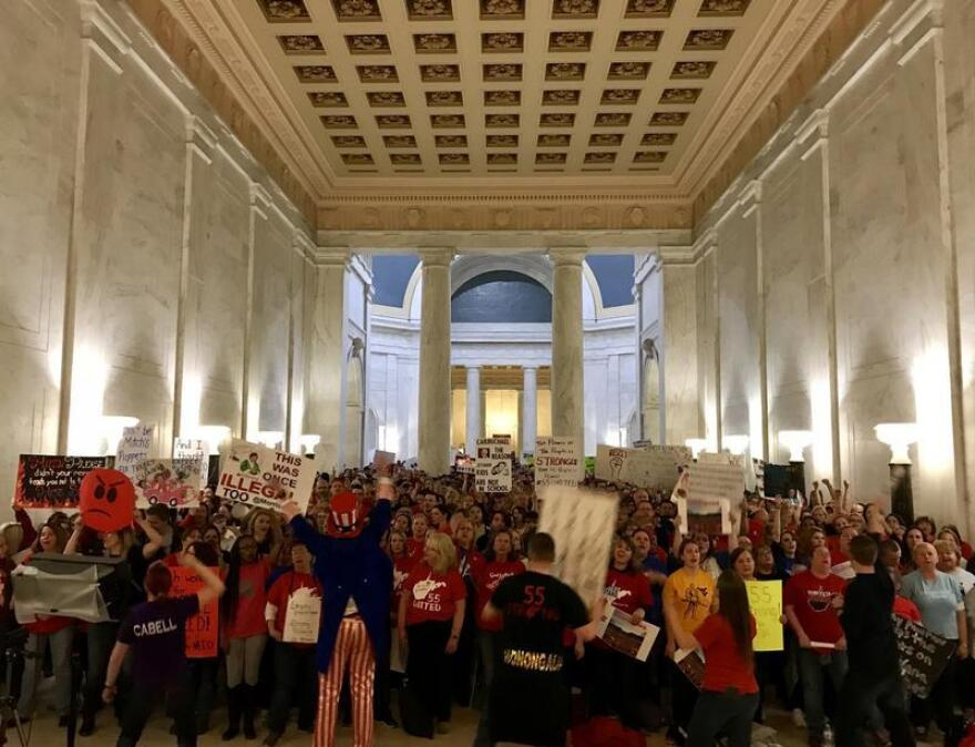 Teachers on strike in the rotunda of the West Virginia Capitol.