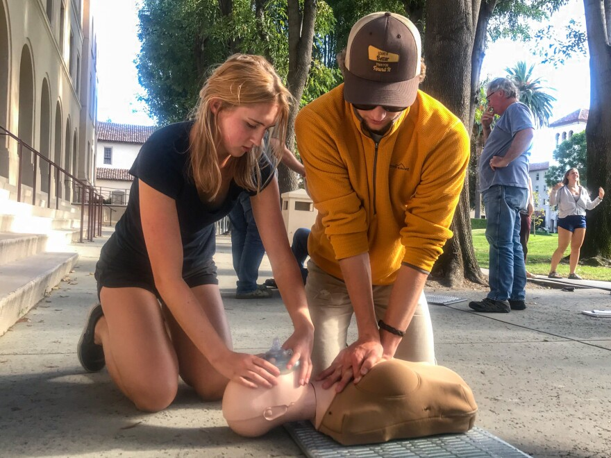 Students in Alice Henshaw's Wilderness Medical Associates CPR training courses can practice on a Womanikin, designed to help trainees understand that compressions should be performed the same way on women's bodies as men's.
