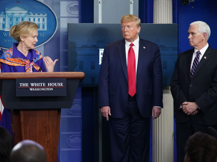 Response coordinator for White House Coronavirus Task Force Dr. Deborah Birx speaks as President Trump and Vice President Pence listen at Wednesday's briefing.