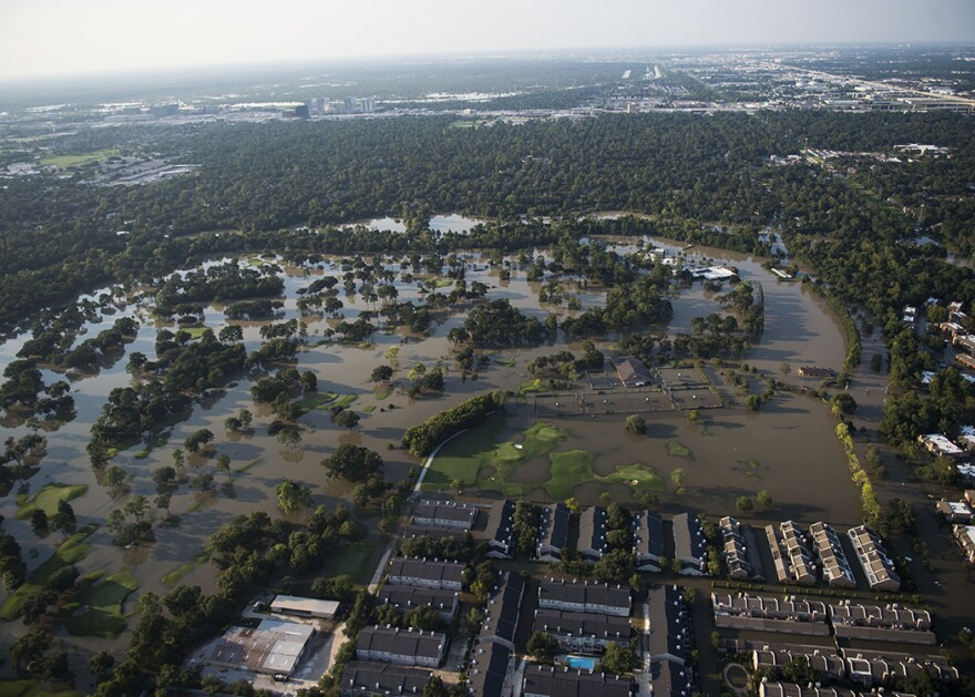 An aerial view of the flooding caused by Hurricane Harvey in Houston, Texas, Aug. 31, 2017. Hurricane Harvey formed in the Gulf of Mexico and made landfall in southeastern Texas, bringing record flooding and destruction to the region.