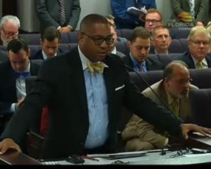 Sen. Chris Smith (D-Fort Lauderdale) speaking before the Senate Criminal Justice Committee Monday about the body cameras bill.