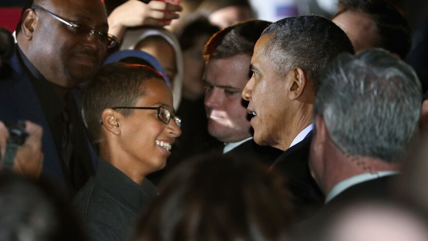 President Obama talks with Texas high school student Ahmed Mohamed during the White House's Astronomy Night event on the South Lawn Monday night.