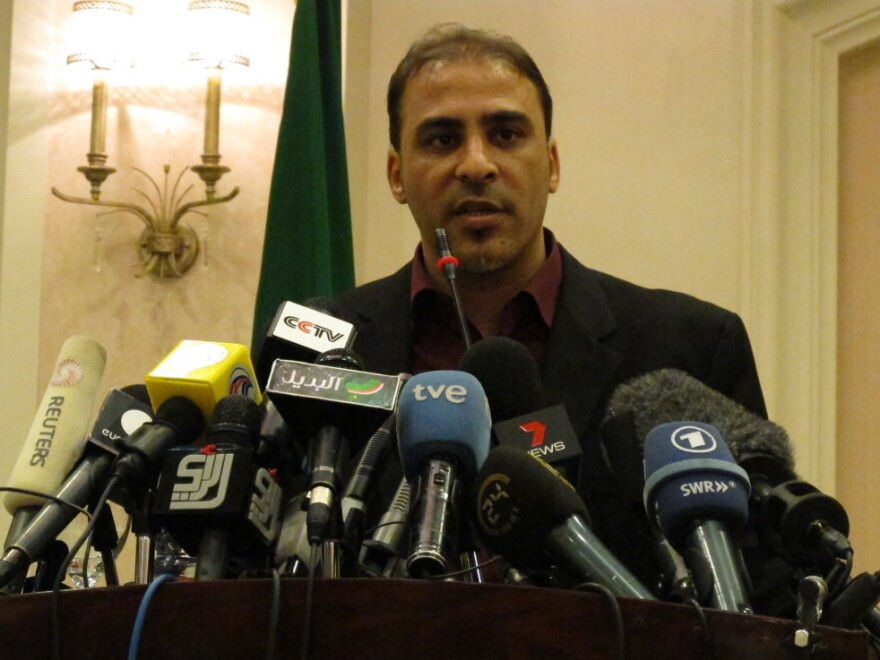 Government spokesman Moussa Ibrahim at a press conference in Tripoli, Libya.