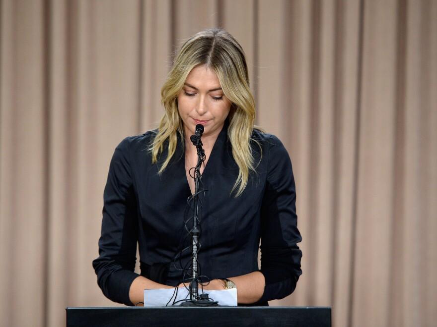 Maria Sharapova talks to the media in Los Angeles on Monday regarding a failed drug test.