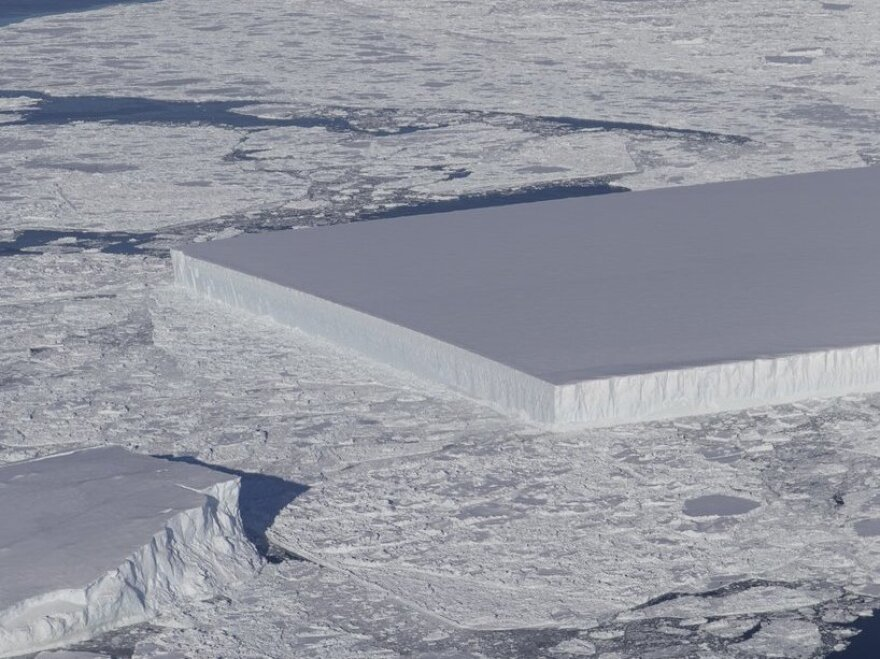 "NASA scientists spotted this ""tabular iceberg"" floating near the Larsen C ice shelf in Antarctica."