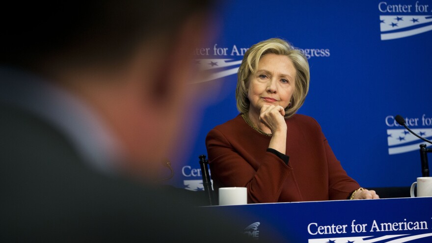 Hillary Clinton listens to another panelist during an event at the Center for American Progress, a left-leaning think tank.