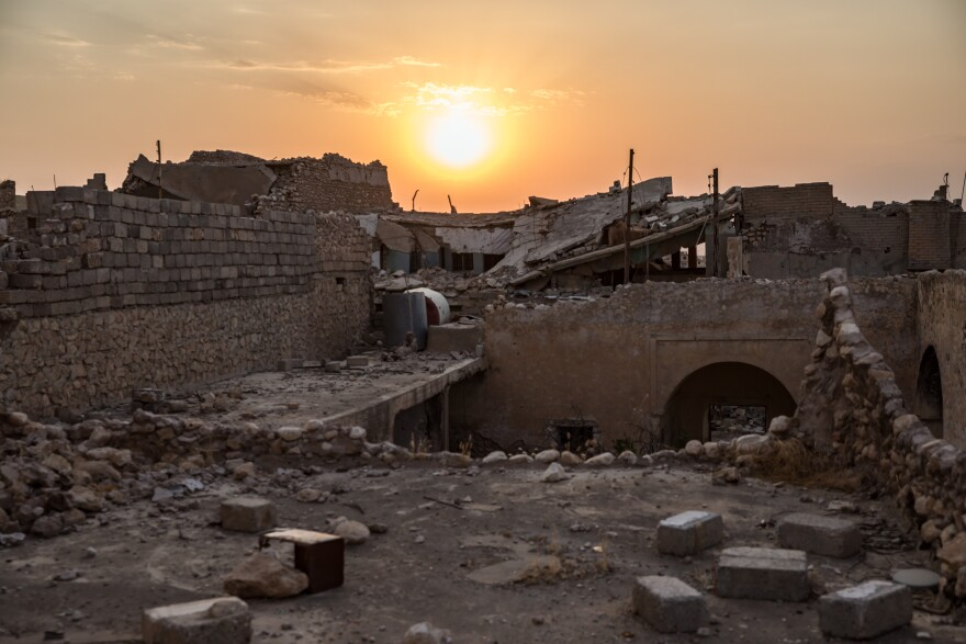 Destroyed buildings in the city of Sinjar, northern Iraq, in 2019.