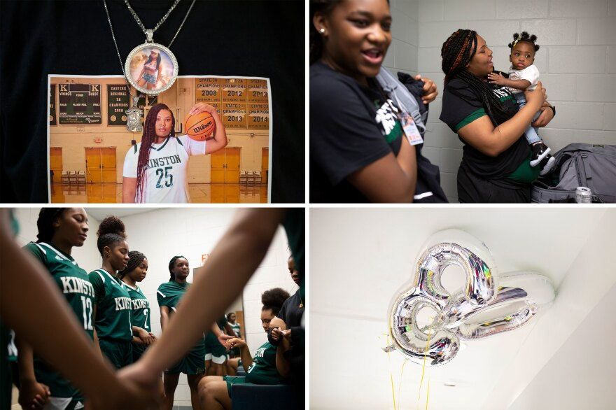 Clockwise from top left: Anzaryia Cobb's brother, Ervin Jones, wears a shirt with a photo of his sister during senior night celebrations; Cobb, center, holds her niece while she and Winter Lane, left, prepare to leave the locker room; balloons for Zykia Andrews (No. 30) float on the ceiling during Kinston High School senior night celebrations; the team prays after a game.