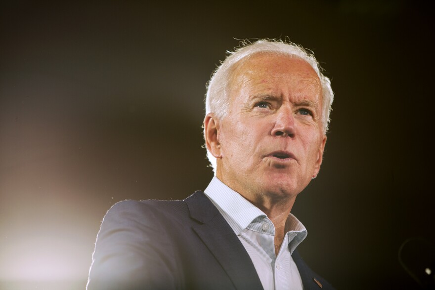 Former Vice President Joe Biden speaks in support of U.S. Sen. Claire McCaskill in Bridgeton. Oct. 31, 2018