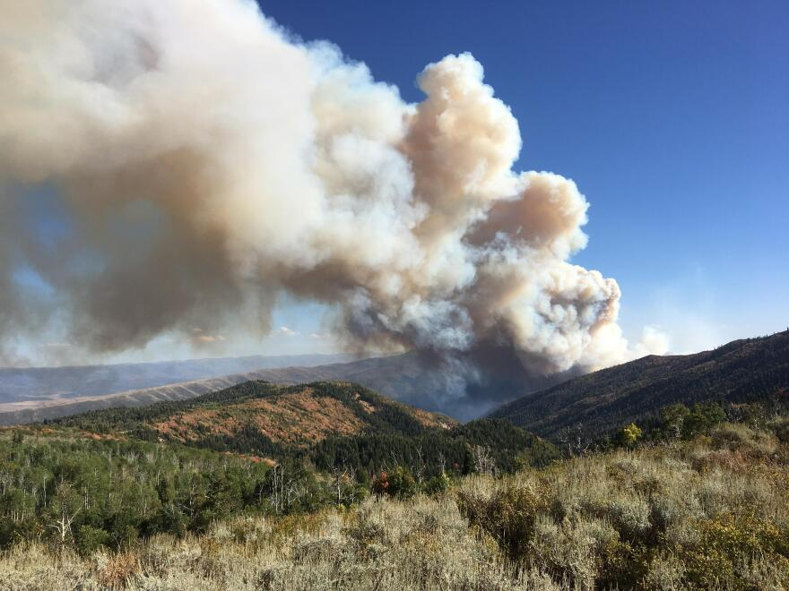 Photo of smoke rising from a dry mountainside.
