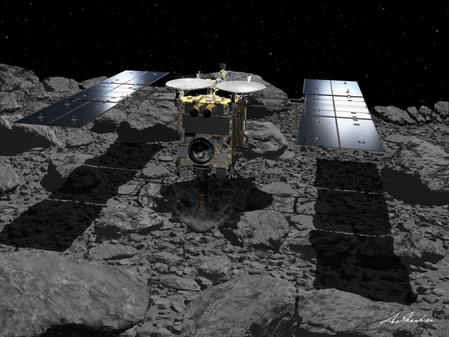 Japan's Hayabusa2, seen in this illustration, has been probing the asteroid Ryugu since 2018. The spacecraft is collecting samples that will be returned to Earth.