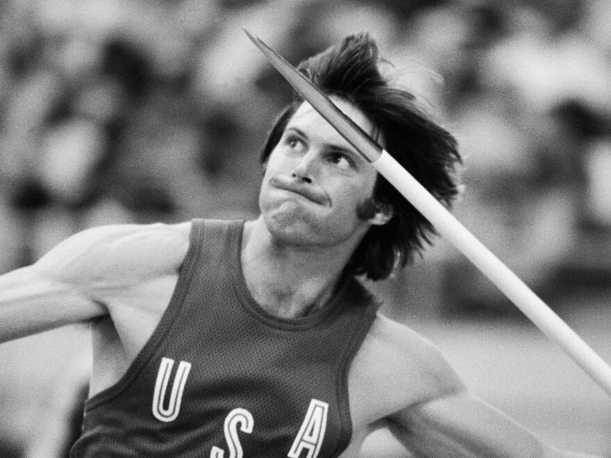 Decathlon gold medalist Bruce Jenner throws the javelin during an Olympic competition in Montreal on July 30, 1976.
