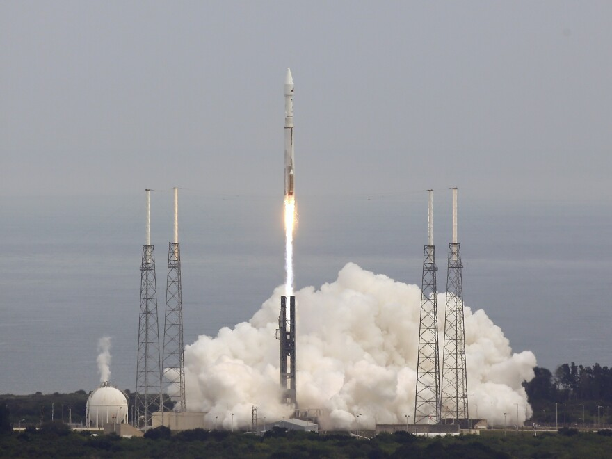 """NASA's MAVEN, short for Mars Atmosphere and Volatile Evolution, with a capital """"N"""" in EvolutioN, atop a United Launch Alliance Atlas V rocket, lifts off from Cape Canaveral Air Force Station, on Monday."""