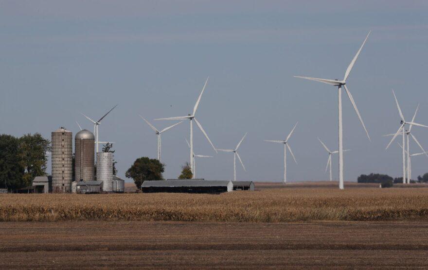 Wind turbines are seen in a corn field behind a farm in Rippey, Iowa.