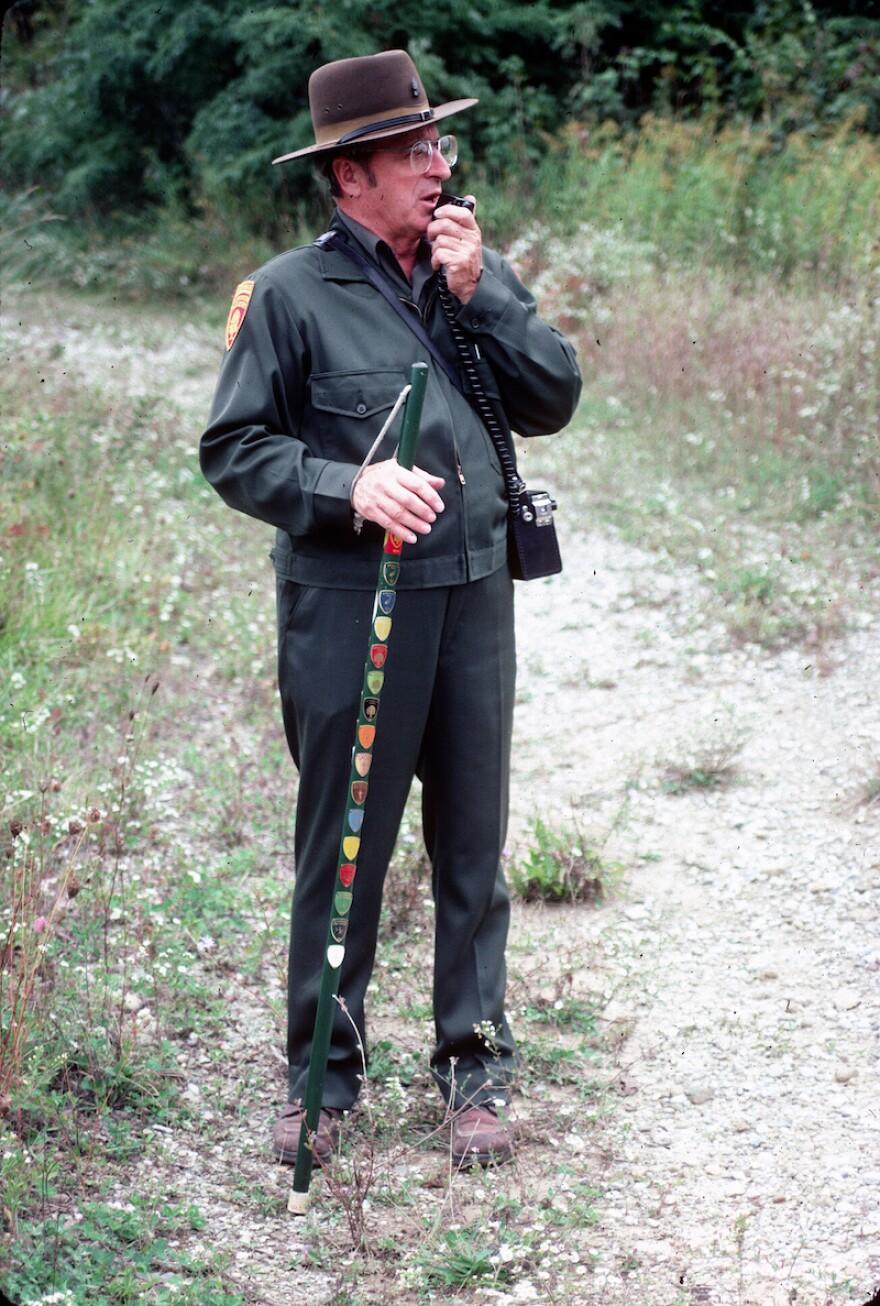 Bert with hiking stick in 1983 cr Summit Metro Parks.jpg