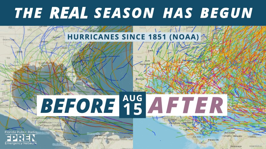 More than 85 percent of all hurricane activity in the Atlantic Basin occurs after the middle of August.