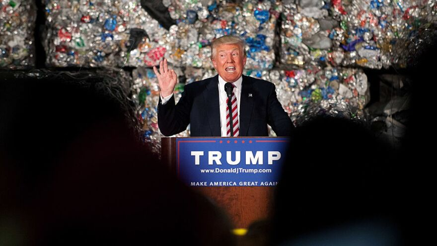 Donald Trump gives a policy speech during a campaign stop in Monessen, Pa., on Tuesday.