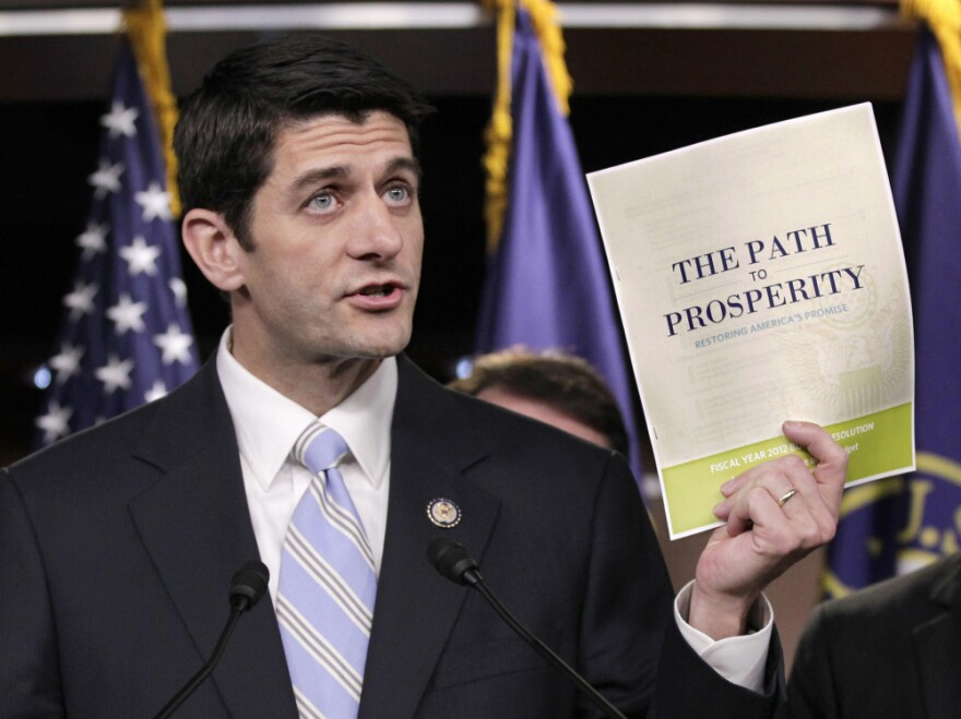 House Budget Committee Chairman Paul Ryan touts his 2012 federal budget during a news conference April 5.
