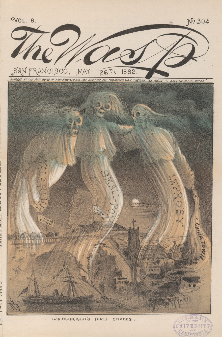 <em>The Wasp</em> cover from 1882 depicts disease as three skeletons hovering over San Francisco. The skeletons represent malarium, small pox and leprosy.
