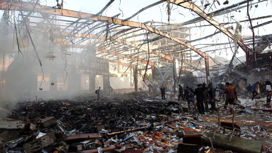 Rebels in control of Yemen's capital accused the Saudi-led coalition of killing or wounding hundreds of people in air strikes that hit a large funeral hall in Sanaa Saturday.