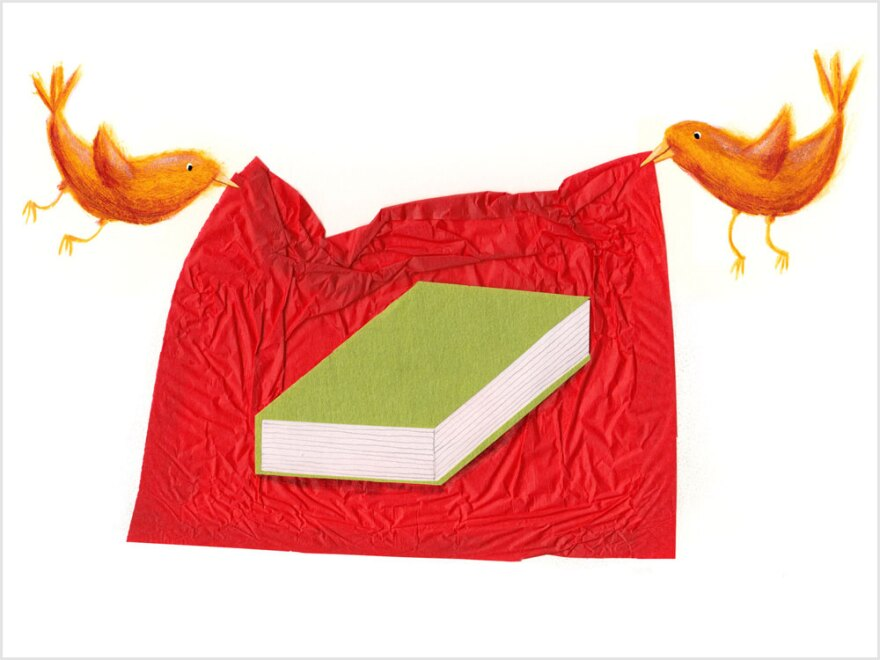 Illustration: Birds wrap a book in red paper.