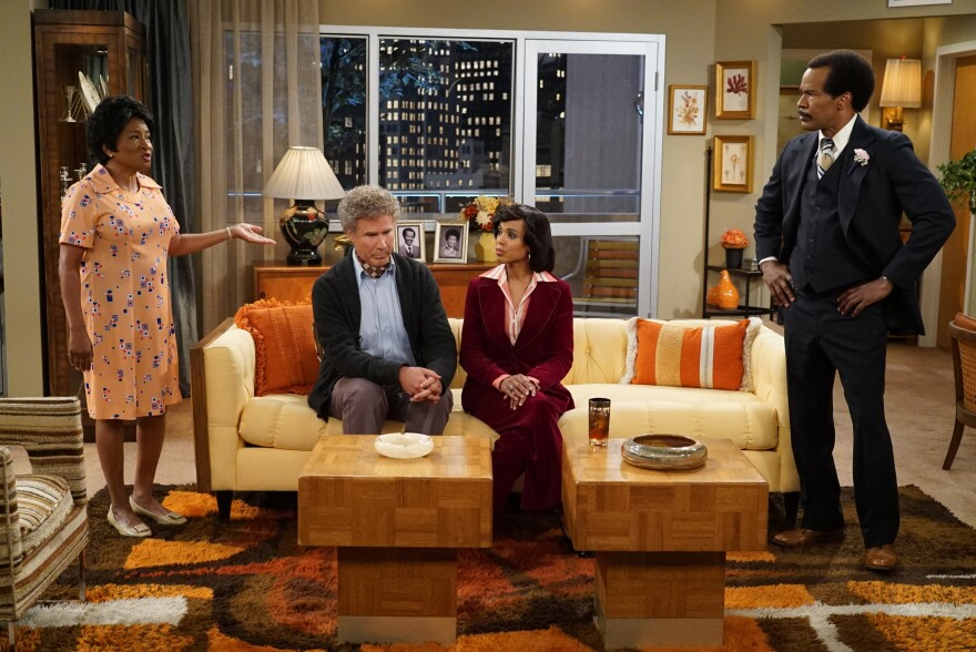 Wanda Sykes (from left), Will Ferrell, Kerry Washington and Jamie Foxx — playing characters from <em>The Jeffersons —</em> were among many famous actors tapped for ABC's prime-time live special.