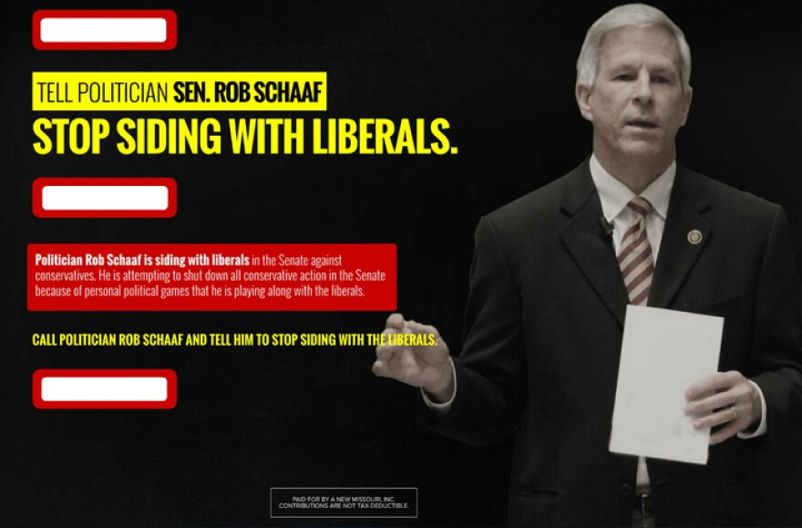 A screenshot of the A New Missouri attack ad against Sen. Rob Schaaf, which has been altered to hide the St. Joseph Republican's cellphone number.