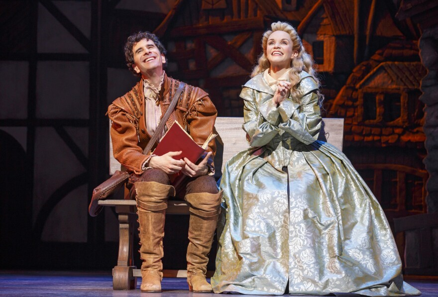<em>Something Rotten!</em> has been nominated for 10 Tony Awards. Above, Nigel Bottom (John Cariani) and Portia (Kate Reinders).