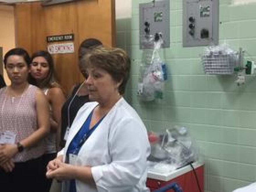 E.R. Manager Esther Stoltzfus leads first year students from Florida State University's College of Medicine on a tour of the Calhoun-Liberty Hospital in Blountstown.